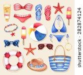 vector watercolor summer... | Shutterstock .eps vector #282874124