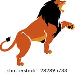roaring lion isolated simple...