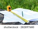 building roulette and pencil on ... | Shutterstock . vector #282897680