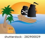 pirate ship with black sails on ...   Shutterstock .eps vector #282900029
