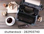retro typewriter on wooden... | Shutterstock . vector #282903740