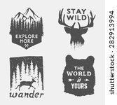 Set Of Wilderness Hand Drawn...