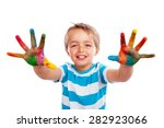boy with hands painted in... | Shutterstock . vector #282923066