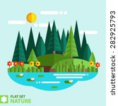 natural landscape in the flat... | Shutterstock .eps vector #282925793