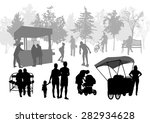 silhouettes of people in urban... | Shutterstock .eps vector #282934628