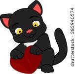 cartoon black cat with heart | Shutterstock .eps vector #282940574