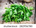 organic fresh bunch of parsley... | Shutterstock . vector #282956780