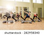 group of women making step... | Shutterstock . vector #282958340