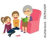 illustration of kids listening... | Shutterstock .eps vector #282961409
