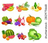 collection of flat fresh... | Shutterstock .eps vector #282975668