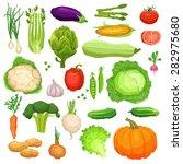 set of flat fresh vegetables ... | Shutterstock .eps vector #282975680