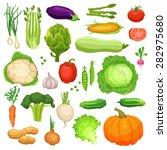 set of flat fresh vegetables ... | Shutterstock .eps vector #282975680