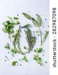 assortment of fresh herbs thyme ... | Shutterstock . vector #282987098