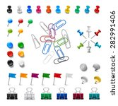 realistic pushpins and colorful ... | Shutterstock .eps vector #282991406