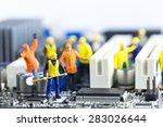 team of engineers repairing... | Shutterstock . vector #283026644