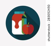 milk and apple flat icon with... | Shutterstock . vector #283052450