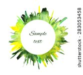 watercolor green and yellow... | Shutterstock .eps vector #283053458