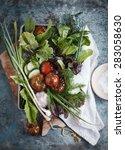 fresh detox vegetables over on... | Shutterstock . vector #283058630