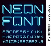 neon blue light alphabet vector ... | Shutterstock .eps vector #283063898