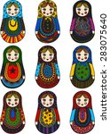 funny dolls   russian dolls... | Shutterstock .eps vector #283075640