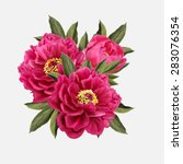 three red peony flowers | Shutterstock .eps vector #283076354