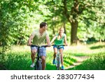 Active People On Bicycles In...