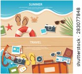 Summer And Travel Flat Banner...
