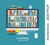 online library education... | Shutterstock .eps vector #283079429