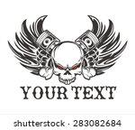 skull wing piston vintage | Shutterstock .eps vector #283082684