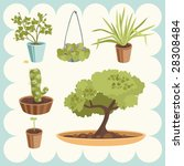 illustration of home plants | Shutterstock .eps vector #28308484