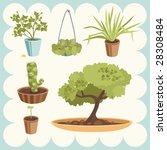 illustration of home plants | Shutterstock .eps vector #28308484
