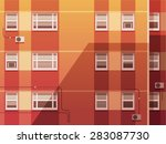 sunset city.the wall of the... | Shutterstock .eps vector #283087730