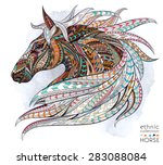 patterned head of the horse on... | Shutterstock .eps vector #283088084