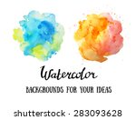 set of abstract watercolor... | Shutterstock .eps vector #283093628