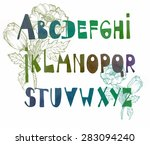 fonts hand drawn in watercolor...   Shutterstock .eps vector #283094240