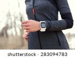 smartwatch woman running with... | Shutterstock . vector #283094783