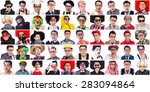 collage of many faces from same ... | Shutterstock . vector #283094864