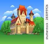castle landscape   Shutterstock .eps vector #283095926