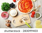 cooking pizza on wooden table ...   Shutterstock . vector #283099403
