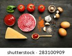 ingredients for cooking pizza... | Shutterstock . vector #283100909