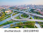 Small photo of city interchange in tianjin , high angle view