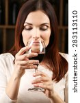 young woman tasting wine in... | Shutterstock . vector #283113110