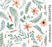 floral watercolor seamless... | Shutterstock .eps vector #283116956