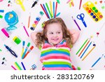 child with draw and paint... | Shutterstock . vector #283120769