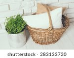 Wicker Basket With A Pillow An...