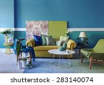 turquoise wall living room | Shutterstock . vector #283140074