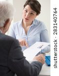 discussing a job application... | Shutterstock . vector #283140764
