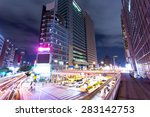 traffic light trails in modern...   Shutterstock . vector #283142753
