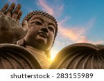the enormous tian tan buddha at ... | Shutterstock . vector #283155989