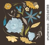 set of vintage vector flowers... | Shutterstock .eps vector #283166588